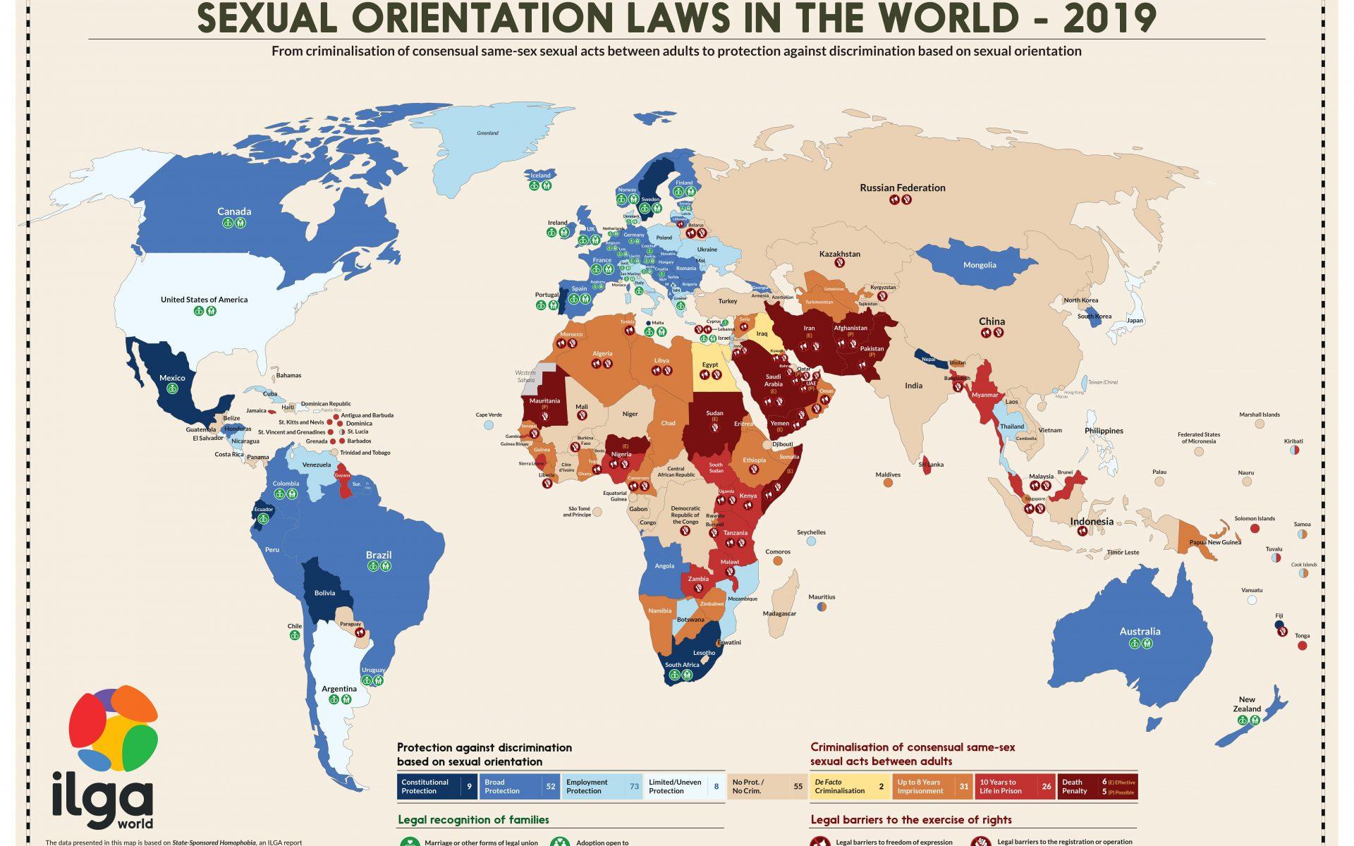 En karta som visar vilka regler för sexuell läggning som gäller runtom i världen