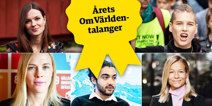 Ingrid Eelde Koivisto, Isabelle Axelsson, Hanna Nelson, Mohamad Al Jounde och Lisa Stenvinkel är årets OmVärlden-talanger.