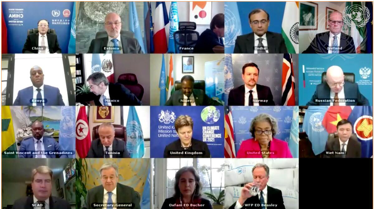 FN:s säkerhetsråd möts digitalt för att debattera åtgärder för att hindra en global hungerkatastrof.