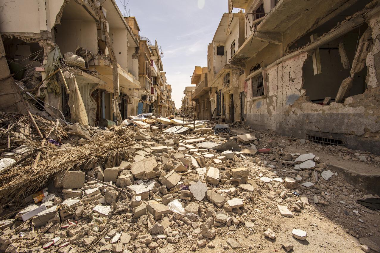 Staden Palmyra, i Syrien, efter ockupationen av Islamiska staten och att regimen återtagit staden, under det tio år långa inbördeskriget.