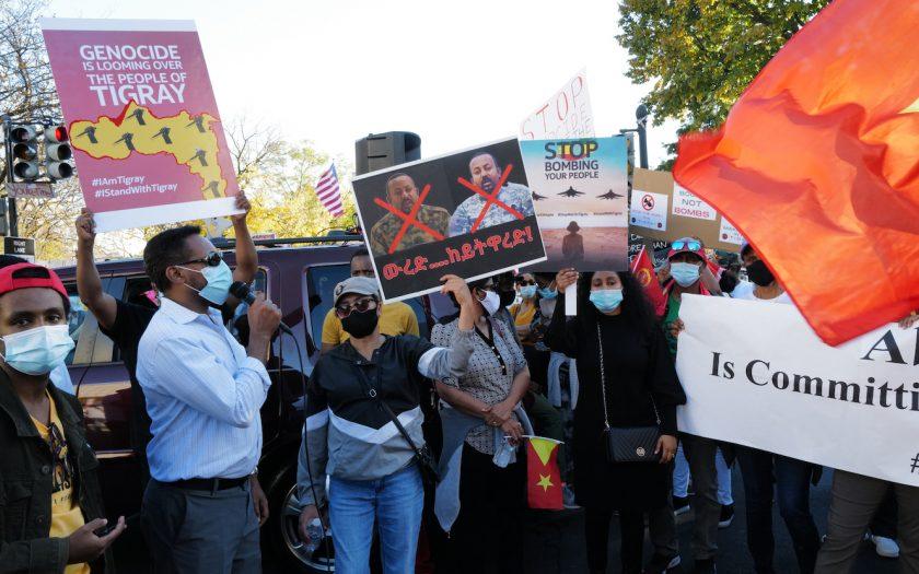 Demonstration i Washington DC, i USA, mot kriget i Tigray, i norra Etiopien.