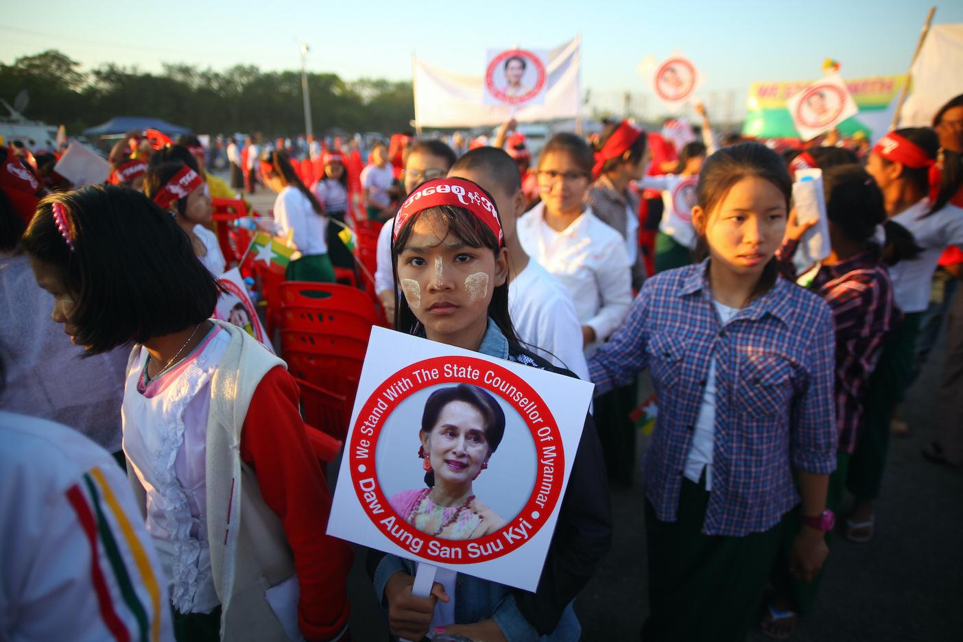 Kampanjmöte till stöd för regeringspartiet NLD och premiärministerAung San Suu Kyi, som tappat stora delar av sitt stöd inför valet den 8 november.