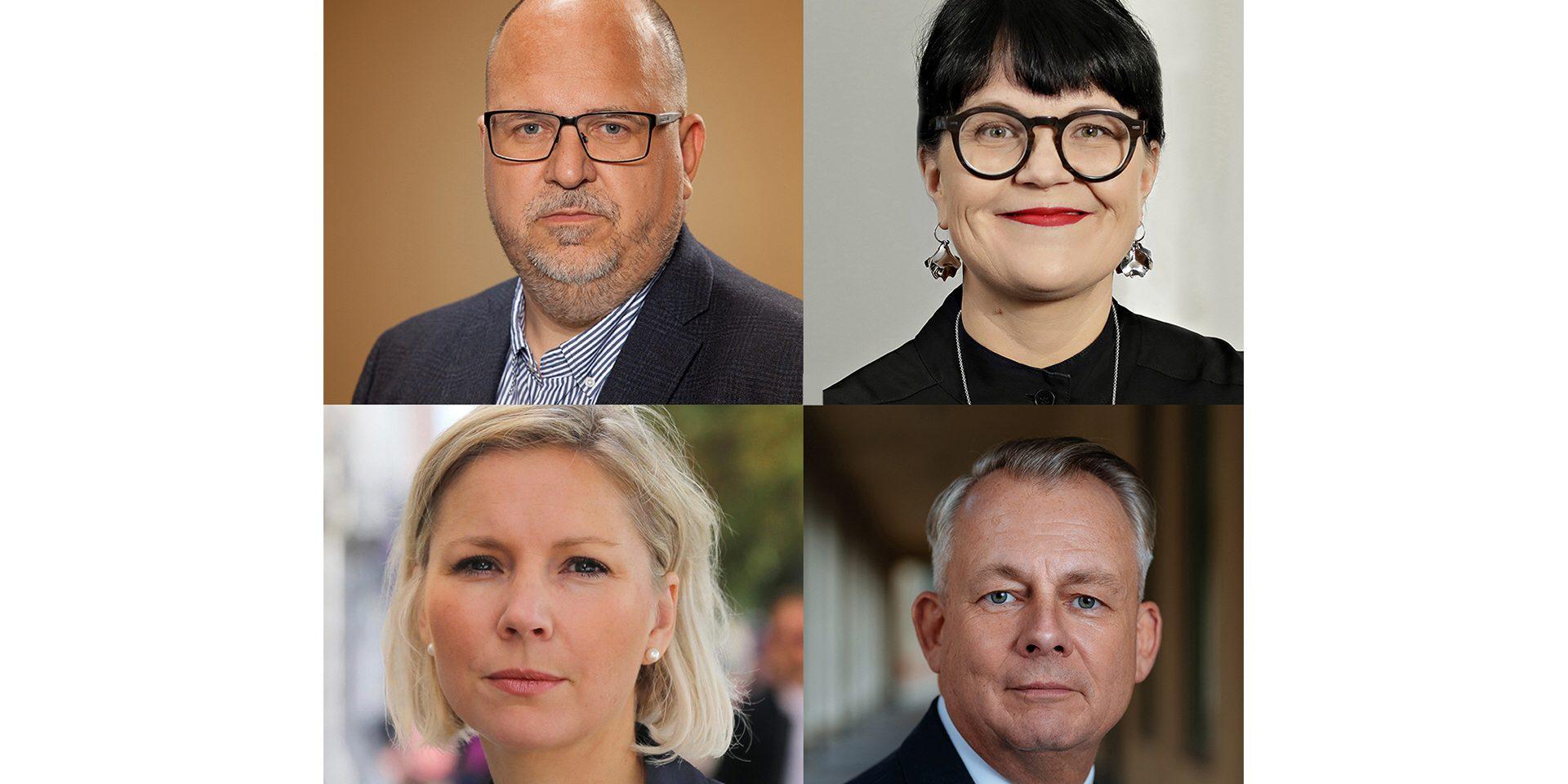 Karl-Petter Thorwaldsson, ordförande LO, Göran Arrius, ordförande Saco ochTherese Svanström, ordförande TCO ställer tillsammans med Sofia Östmark, kanslichef på Union to Union, högre krav på regeringens internationella arbete.