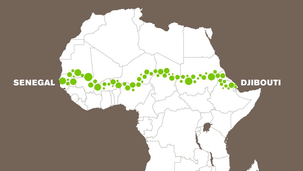 """Som en motvikt till murar som skapar gränser mellan folk vill """"The Great Green Wall"""" istället förena människor och tackla en rad utmaningar i Sahel-regionen i Afrika"""