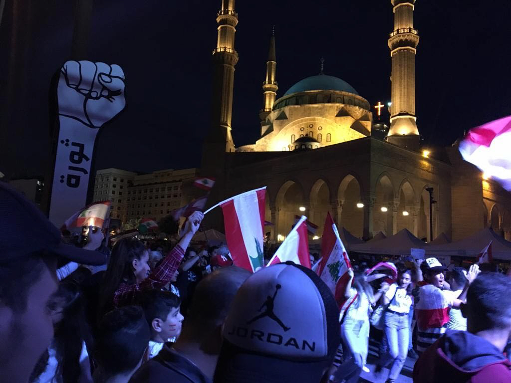 Protesters at Martyrs´ Square in Beirut, Lebanon.
