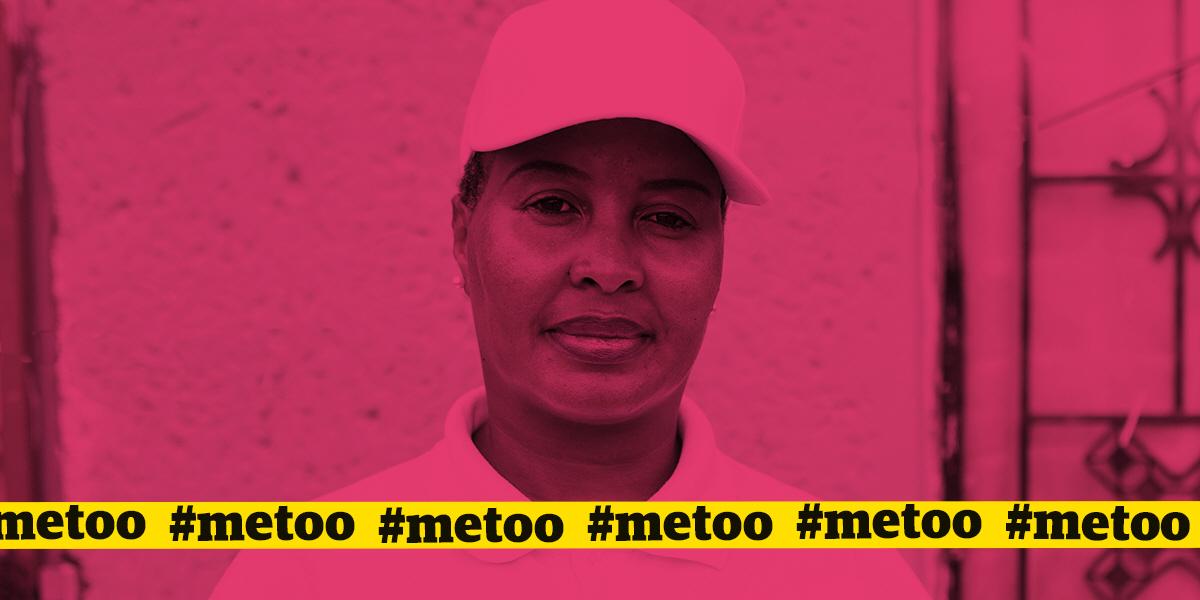 Kamogelo Seleka utanför Dobsonville Human Rights Office i Soweto, där hon idag stöttar andra kvinnor, som liksom hon, utsatts för sexuellt våld.
