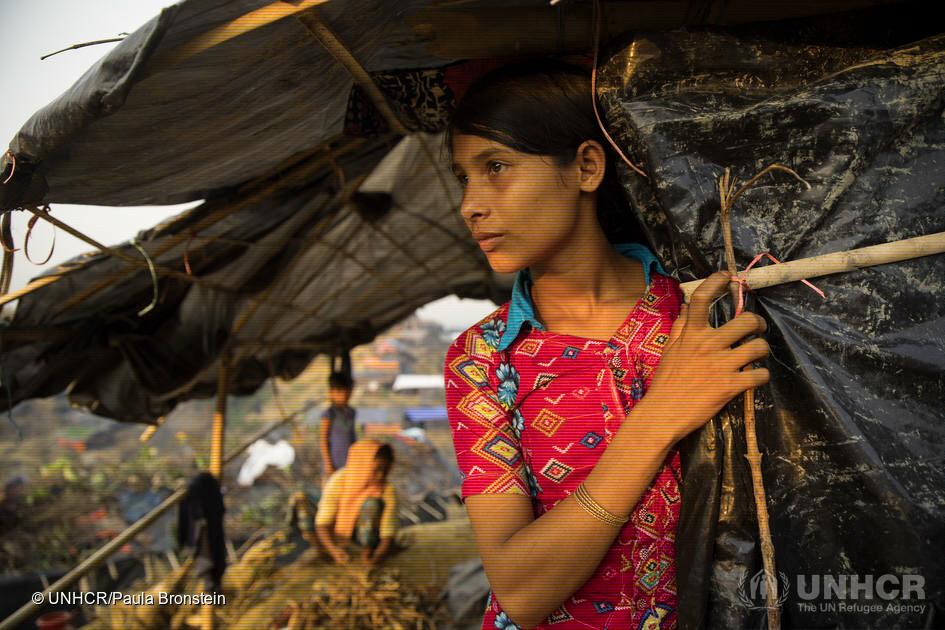 15-åriga Rashid har flytt från Myanmar och bor nu i flyktinglägret Balukhali. Tonårsflickor är en särskilt utsatt grupp i humanitära kriser.