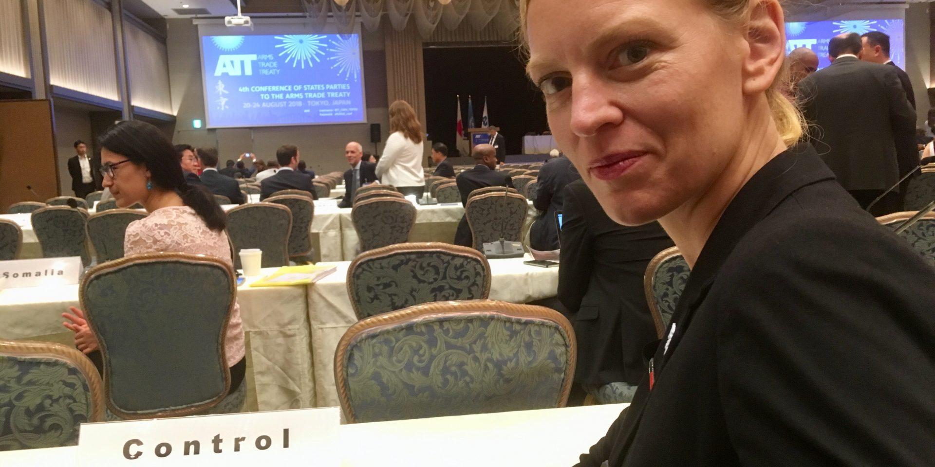 Linda Åkerström, ansvarig för nedrustningsfrågor på Svenska Freds- och Skiljedomsföreningen, på plats under mötet i Tokyo.