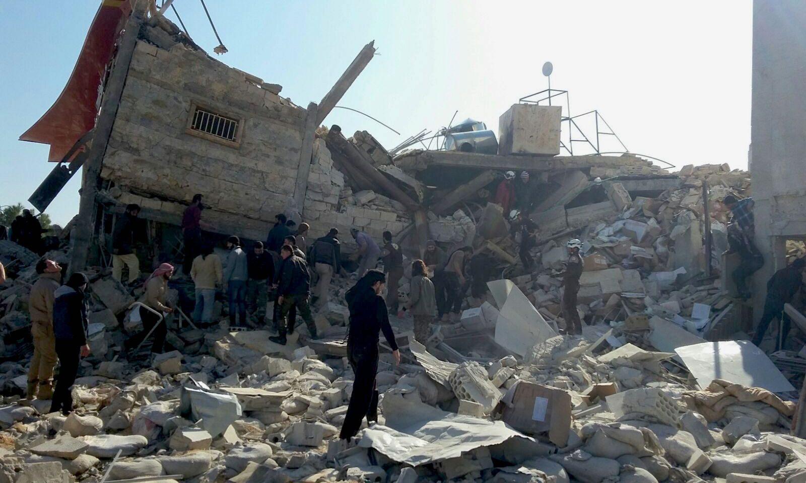 Förstört sjukhus, som Läkare Utan Gränser stöttar, i Ma'arat Al Numan.