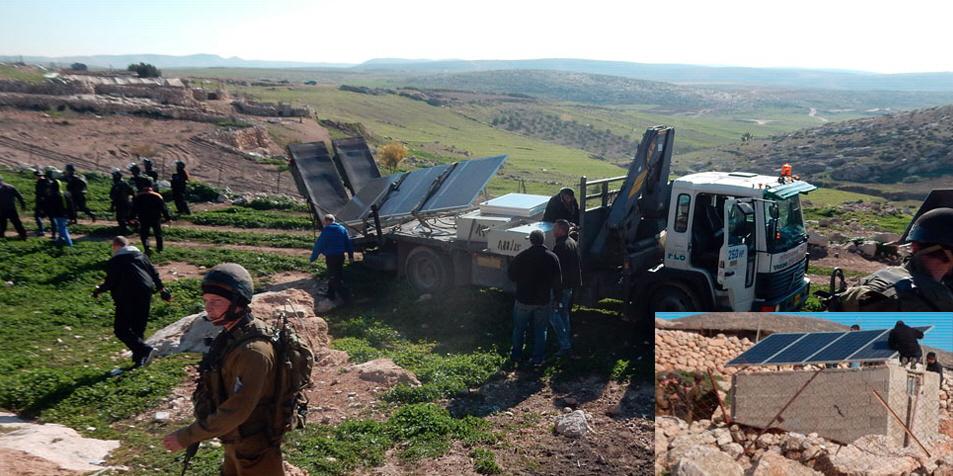 Före och efter: Solpaneler i Khirbet Jenbah konfiskeras av Israels militär i februari 2016. Solpanelerna var en del av ett projekt som finansieras med stöd från en fond som får pengar från Danmark, Sverige, Norge och Österrike.