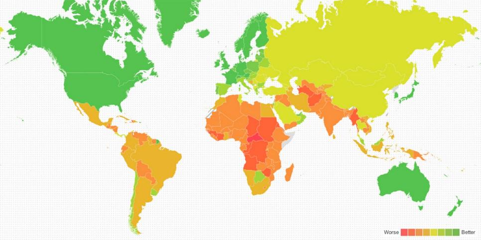 Så väl förberedda är världens länder på konsekvenserna av klimatförändringarna. (Bild: Washington Post/Know More)