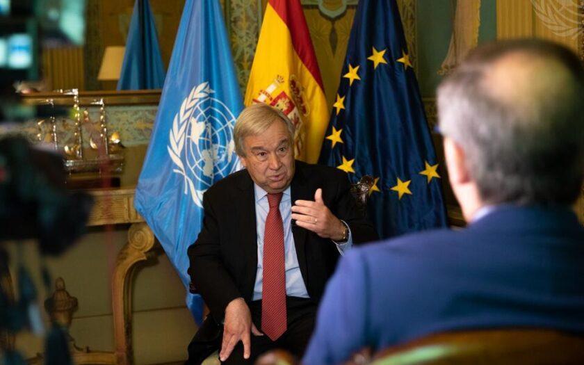 FN:s generalsekreterare António Guterres intervjuas av spansk tv om klimatförändringarna