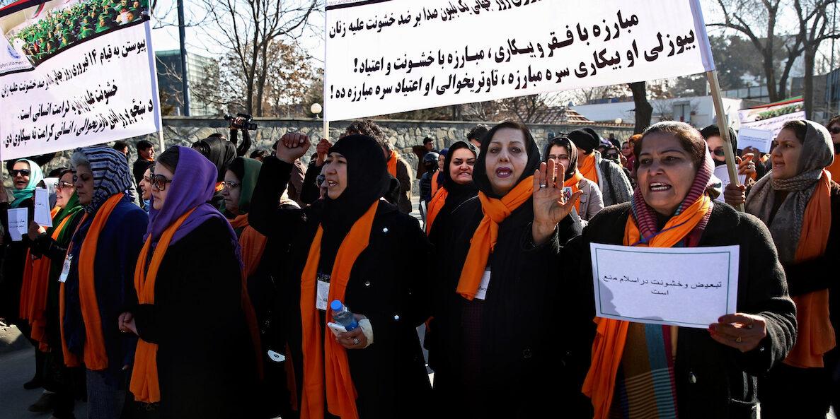 Demonstration för kvinnors rättigheter i Kabul, efter talibanernas maktövertagande