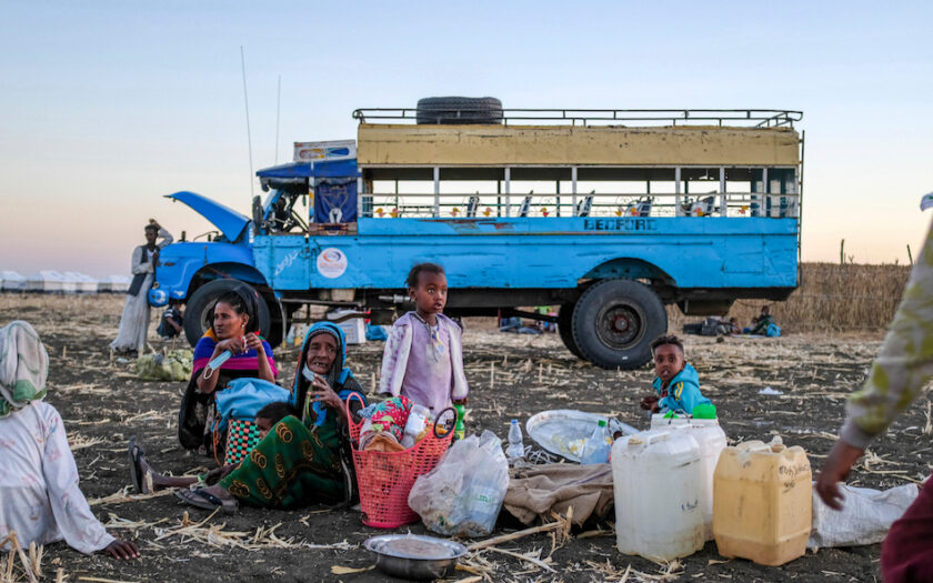 Etiopiska flyktingar på flykt i Sudan