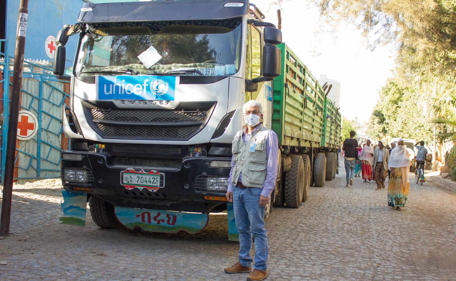 Unicef leverar nödhjälp till Läkare utan gränser och Röda Korset i Tigray, i Etiopien.