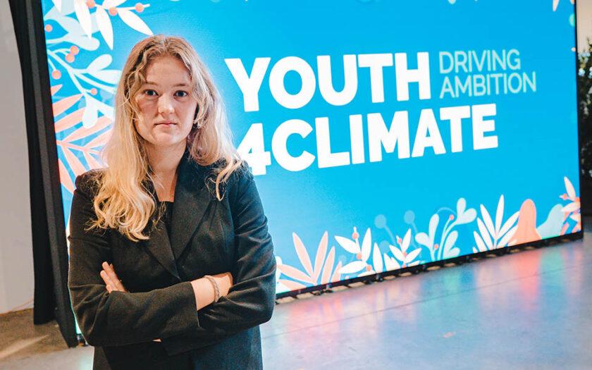 Fredrika Andersson, klimatrepresentant för Sveriges ungdomsorganisationer (LSU) på ungdomskonferensen Youth4Climate i Milano.