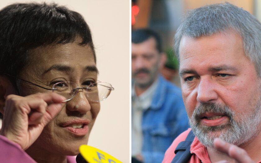 Maria Ressa och Dimitrij Muratov, årets fredspristagare